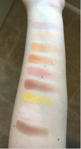 Top to bottom: Confection, Peach Smoothie, Chickadee, Early Bird, Tuscan Sun, Sidekick, Lemon Drop, Vanilla Bean, Complicated (contour pan)